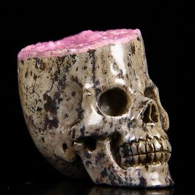 """1.7"""" PINK CALCITE Carved Crystal Skull, Realistic, Crystal Healing #732"""
