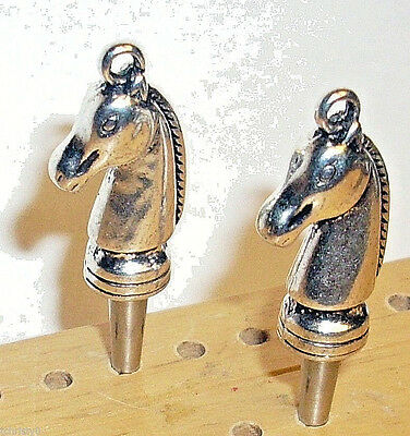2 Tibetan Silver GOLD Horse Cribbage Pegs/Polished Silver Pegs FREE Velvet Bag