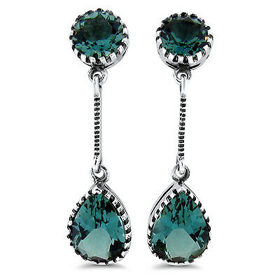 5 Carat Sim Emerald  Antique Victorian Design 925 Silver Earrings,         #654