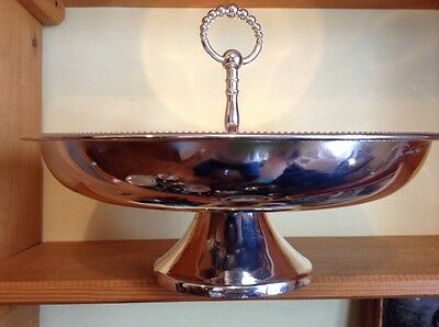 Nice  silverplate Godinger pedestal serving tray Bowl with handle