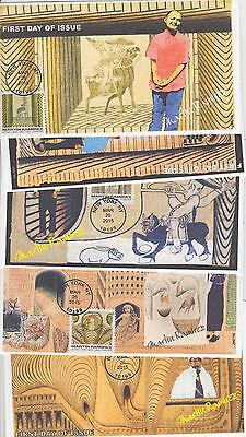 Jvc Cachets-2015 Martin Ramirez Artist Set Of 5 First Day Covers Fdc Art Topical