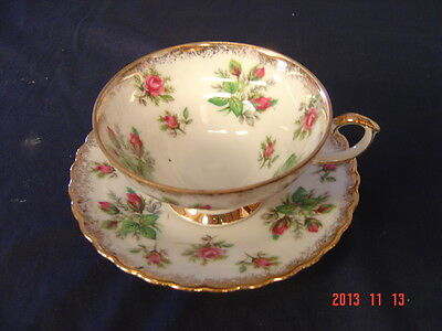 VINTAGE NAPCO PORCELAIN CUP AND SAUCER  SD159 PINK ROSES GOLD TRIM ORIGINAL HP