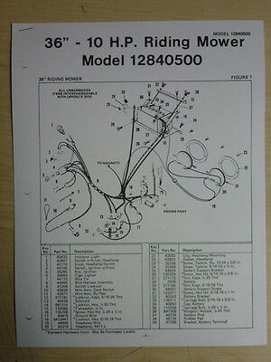 """Amf 36"""" 10 H P Riding Mower Parts List Owner's Manual Model 12840500"""