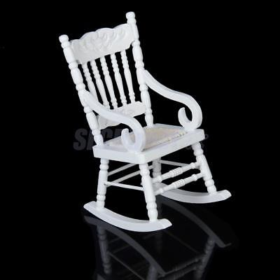 dolls house furniture nursery living room wooden rocking chair 1:12 scale white
