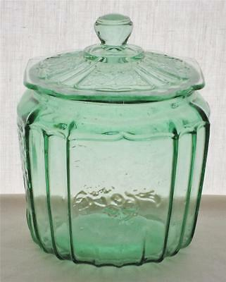 Anchor Hocking Green Depression Glass Biscuit Cookie Jar & Lid Mayfair Open Rose