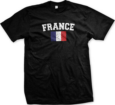 France Faded Distressed Flag French Francaise Country Pride Mens T-shirt