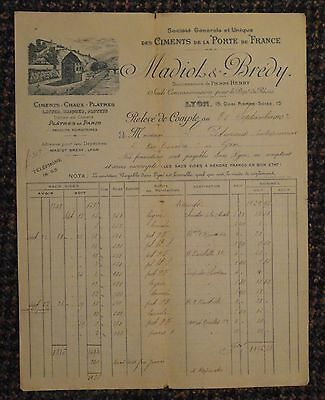 1902 Lyon France Madiot & Bredy Cement and Brick Makers letterhead