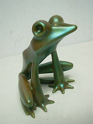 """Zsolnay Hungary Eosin Large 6 1/4"""" Green Sitting Frog Figurine ~ Excellent!"""