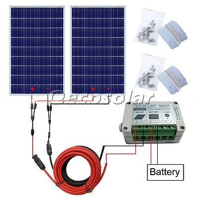 200W Home Solar System Off Grid Kit: 2*100W 12V Solar Panel with Accessories