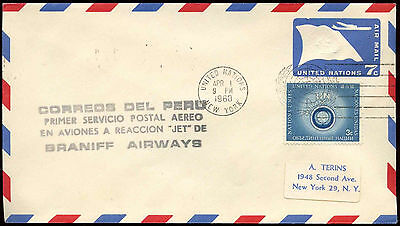 United Nations 1960 New York - Lima First Flight Cover #C23515