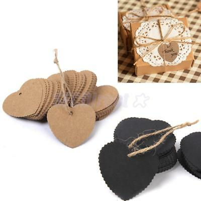 100 Heart Kraft Paper Wedding Xmas Gift Cards Label Blank Luggage Tags + String