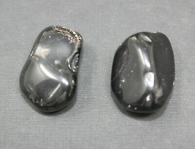 2 MEDIUM/LARGE Black Onyx Tumbled Stone Crystal Healing Tumble Gemstone Reiki