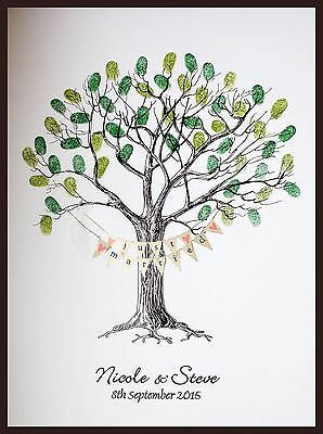 A3 Personalised Wedding Fingerprint Tree With Bunting- alternative guest book
