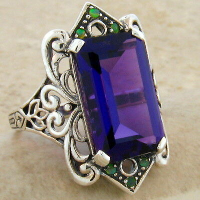 6 Ct. Lab Amethyst Opal Antique Victorian Style .925 Sterling Silver Ring,  #465