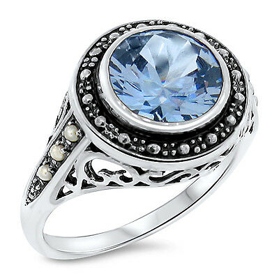 3.5 Ct. Sky Blue Sim Topaz Pearl Antique Victorian Style .925 Silver Ring,  #467
