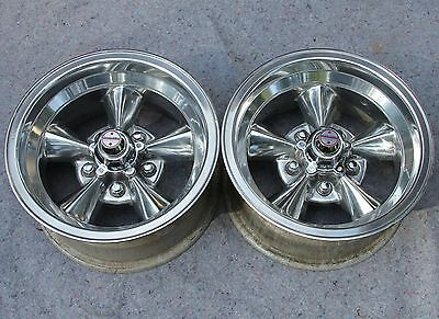 Vintage AMERICAN RACING 14 x 7 TORQ THRUST Wheels POLISHED 5 on 4 3/4 CHEVY GM