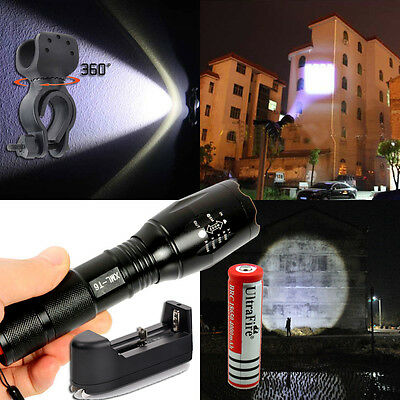 USA Zoomable 2500LM UltraFire T6 XM-L CREE LED Flashlight Torch+Battery+Charger