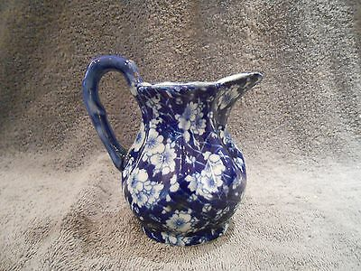"Victoria Ware Ironstone Blue Calico Chintz Pitcher 5 1/8"" tall"
