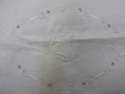 "ANTIQUE HEAVY HOME SPUN LINEN BED SHEET w EMBROIDERED MONOGRAM ""ZL"" 92""x 106"""