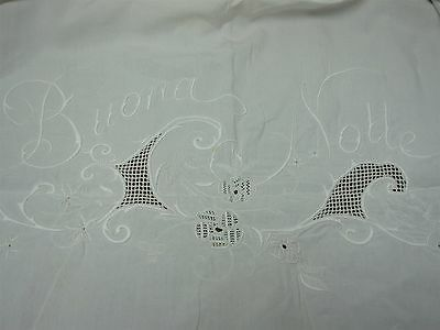 """ANTIQUE HEAVY PURE LINEN BED SHEET w EMBROIDERED """"BUONA NOTTE"""" ~ 92"""" X 106"""""""