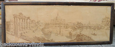 """Antique Framed Tapestry of ROMA Vatican City Water Damage 20 1/2 x 53 1/2"""""""