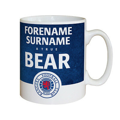 Personalised Glasgow Rangers FC Football Club True Bear Badge Mug Gifts for Fans