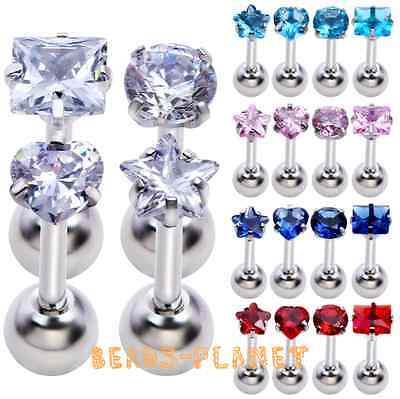 16G Bar CZ Gem Crystal Steel Ear Tragus Cartilage Helix Studs Earring Piercing