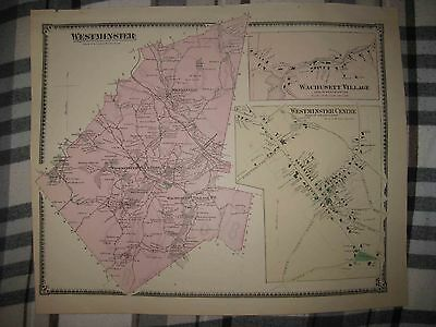 Antique 1870 Westminster Wachusetts Worcester County Massachusetts Handcolor Map