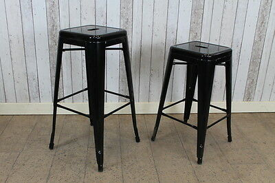 Industrial Vintage Style Tall Black Tolix Stacking Stools