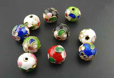 30Pcs Cloisonne Ball Spacer Beads Assorted Colors 10mm Jewelry Making