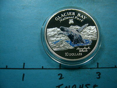 Humpback Whale Glacier Bay National Park Enamel 1997 Cook 925 Silver Coin Rare