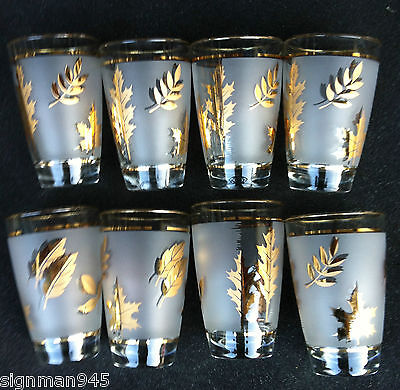 8 Frosted LIBBEY  Gold Leaf Tall Ice Tea  / Water Glasses