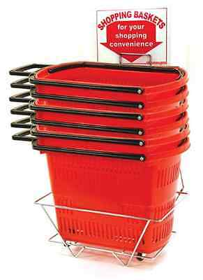 Six AYS Retail Easy-Pull Rolling Shopping Basket Set  (Red)
