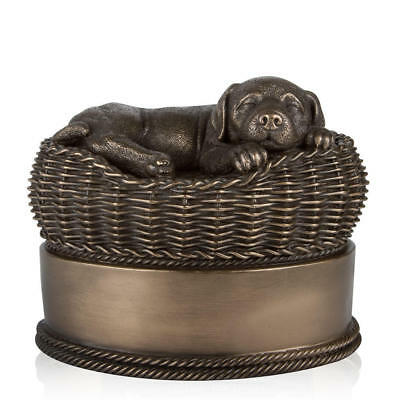 Perfect Memorials Large Bronze Dog in Basket Cremation Urn