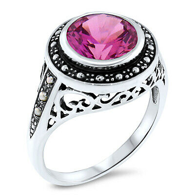 3.5 Ct. Pink Lab Sapphire & Pearl Antique Design .925 Sterling Silver Ring, #482