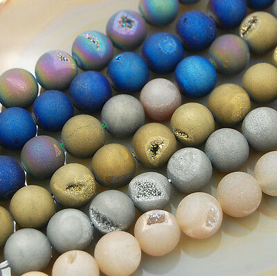 Natural Druzy Quartz Agate Round Beads 6mm 8mm 10mm 12mm 14mm 16mm