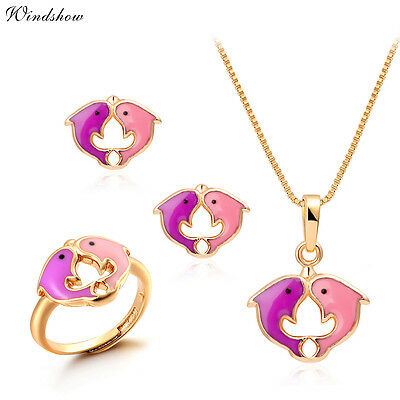 Kids Girl PinkDouble Kissing Dolphin Earrings Ring Pendant Necklace Jewelry Sets