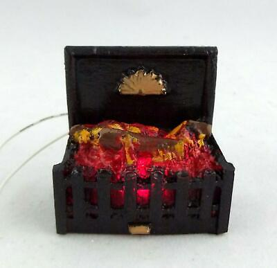 Dolls House Miniature Fireplace Accessory 12V Light up Glowing Log Fire in Grate