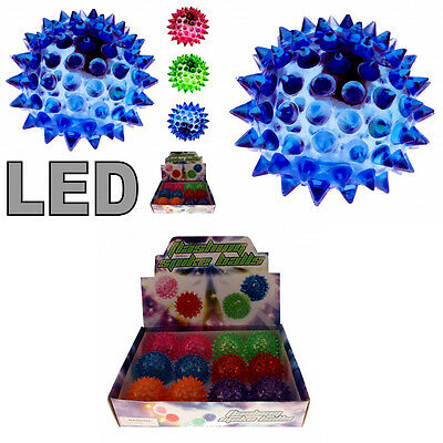 LED Flummi Ball Igel Springball Stachel Design Hüpfball mit Licht