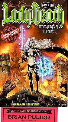 Lady Death CHAOS RULES Emerald 11/75 sign Brian Pulido COA FREE UK POST NM