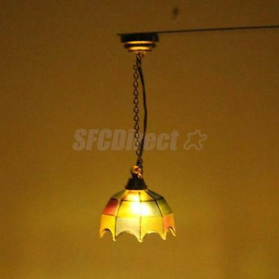 DOLLHOUSE MINIATURE CEILING LED LIGHTING COLORED shade LAMP BATTERY POWERED