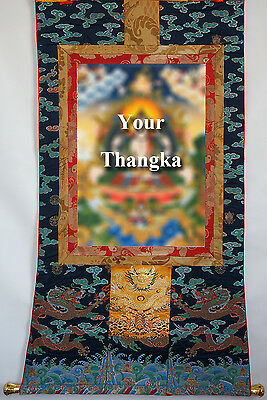 "Wood Bar & Brocade Service As 50"" Tibet Thangka Scroll : Embroidery 3 Dragons ="