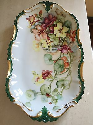 """T & V  Limoges Hand Painted 16 1/2"""" Green/Gold Floral Vanity Tray Dish Plate"""