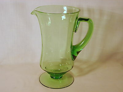 Old ca. 1930's Fostoria Green Optic 9-1/4in Jug Pitcher, 5084-7, Excellent Cond.