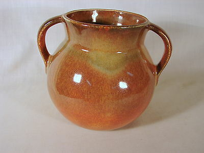Old ca. 1940s Boys Town Pottery 5in Hndld Vase, w/ Neat Fruitone Glaze, Muncie
