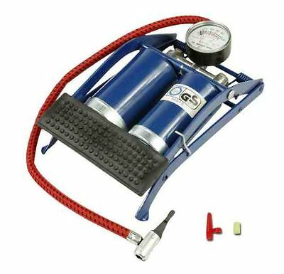 Double Barrel Cylinder Pump Air Inflator Foot Pump Car Van Bicycle Bike Tyre