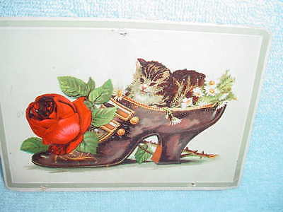 Large  Trade Card - Kittens In Victorian Ladies Shoe