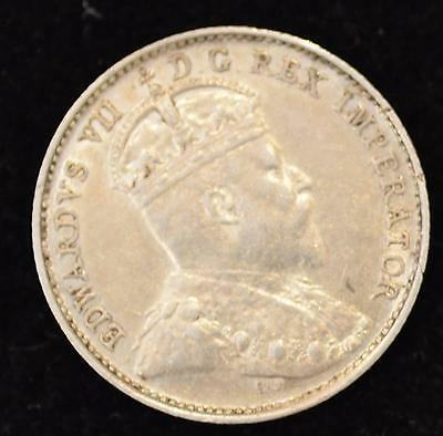 1909 Round Leaves, Cross/Bow Tie AU Canadian Five Cents Silver - RARE 39 Known
