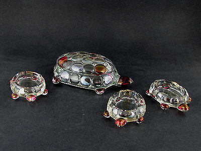 Westmoreland 1000 Eye Turtle Box w Cover + 3 Turtle Ashtrays in Crystal Stained