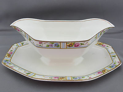 Grindley Carmona Gravy Boat Attached Underplate England Dinnerware Floral Flower